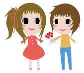 Cute 2D couple. — Stock Vector