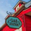 Red gas station with flashy exterior — Stock Photo #27425537