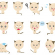 Cute Kitten emotional icons — Stock Vector