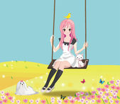 Cute girl on the swing — Stock Vector