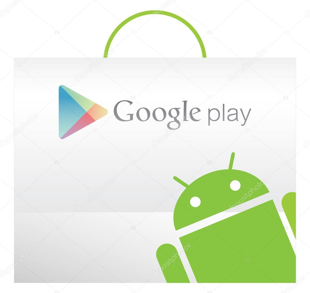 google play bag with android texture stock vector. Black Bedroom Furniture Sets. Home Design Ideas