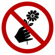 Don't Pick the Flower Sign — Stock Vector
