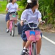 Stock Photo: Thai Schoolgirl riding bicycle