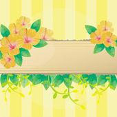 O bloco de notas e fundo amarelo de flor de hibisco — Vetor de Stock