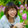 Cute Thai girl are very happy with Siam Tulip — Stock Photo