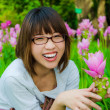Cute Thai girl are very happy with Siam Tulip — Stok fotoğraf