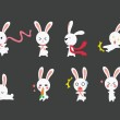 Cute Rabbit emotional icons — Stock Vector