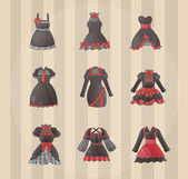 Sets of Gothic dresses — Stock Vector