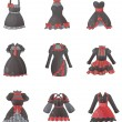 Sets of Gothic dresses in white background — Stock Vector