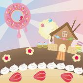 Candy landscape (vector) — Stock Vector