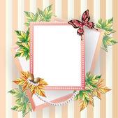 枫叶图片框架与珍珠珠. — 图库矢量图片