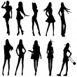 Sets of sexy girl gang, create by vector — Image vectorielle