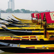Stock Photo: Decorated boats in row in Bangkok river
