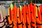 Life jacket on the row — Stock Photo