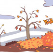 Child cartoon autumn landscape background (vector) — Stock Vector