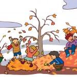 Children having a good time in autumn landscape (vector) — Stock Vector #31044997