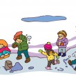 Children having a good time in winter landscape (vector) — Stock Vector