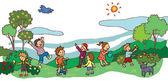 Children having a good time in spring landscape (vector) — Stock Vector