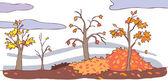 Child cartoon autumn landscape background (vector) — Vecteur