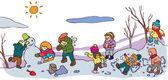 Children having a good time in winter landscape (vector) — Stock Vector