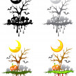 Halloween floating isle decoration set — Stock Vector