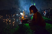 Loy Kratong festival to worship river goddess in Thailand — Stock Photo