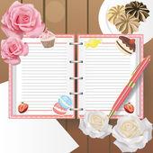 Diario de dulces con la línea y un bolígrafo — Vector de stock
