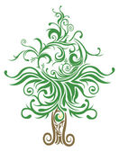 Unique Christmas tree made with many curves and elements — Stock Vector