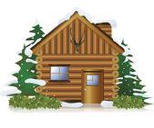 Huisje in het midden van de sneeuw bos — Stockvector