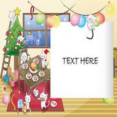 Tarjeta de fiesta de navidad de gato — Vector de stock