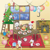 Cat Christmas party! — Stock Vector