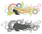 Fluttering hair on woman dummy with bubble backdrop — Stock Vector