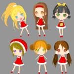 Cute sprite Santa girls set (vector) — Stock Vector