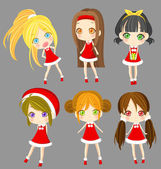 Cute sprite Santa girls set (vector) — Stock Vector