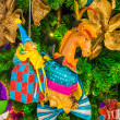 Colorful Christmas tree ornaments and decorations — Stock Photo