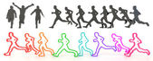 Sets of rough sketch silhouette and colorful running people in 3 — Stock Photo