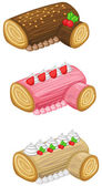 Log cake for Christmas vector set — Stock Vector