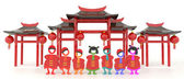 3D Chinese people and Chinese pavilion in white background — Stock Photo