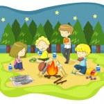 Постер, плакат: Children campfire in the wilderness at night vector
