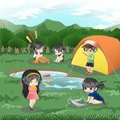 Children are camping in the wilderness (vector) — Stock Vector
