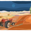 Lanscape with tractor — Stock Vector