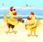 Chickens on vacation — Stock Vector