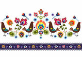 Folk Pattern With Birds — Stock Vector