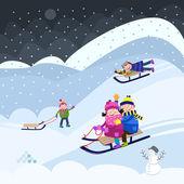 Fun on snow — Stock Vector