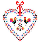 Heart with roosters — Stock Vector