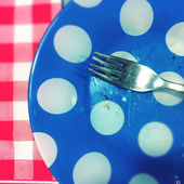 A fork awaiting on the empty plate — Stock Photo