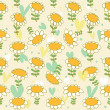 Stock Vector: Floral seamless baby pattern