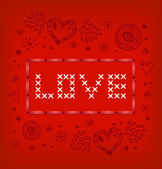 Love banner. Scandinavian style knitted pattern with hearts and snowflakes. Amour — Stock Vector