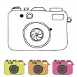 Vector illustration of detailed isolated icons of camera in retro style. Linear drawn image  — Stockvektor