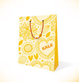 Find similar images Isolated on white pocket. Ornamental yellow paper-bag. Pack, package, parcel — Stock Vector